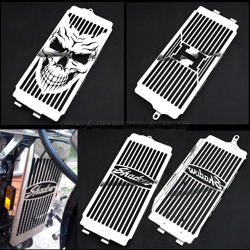 Motorcycle Chrome Skull Radiator Grill Cover Guard Protector For Honda Shadow ACE VT400 VT750 1997 - 2003 Spirit 750 2001 - 2008