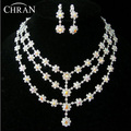 Unique Rhodium Plated Imitation Diamond Bridal Jewelry Women Accessories Wholesale Charm 3 Rows Rhinestone Wedding Jewelry Sets