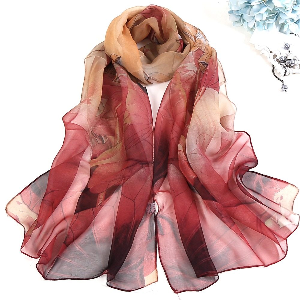 2019 New Fashion Spring/Summer Women Floral Printing Beach Silk Scarf Shawls Female Long Wraps Beach Sunscreen Hijab 40 Colors