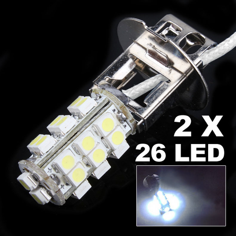 2pcs/lot H3 26 LED 3528 SMD White Car Auto Headlight Bulb Fog Head Light Lamp For DC 12V 3W