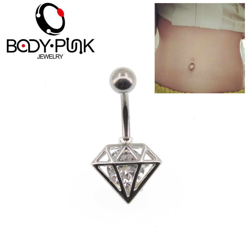 BODY PUNK Triangle With Clear CZ Curve Belly Button Rings Bar Silver Plated Surgical Piercing Sexy Body Jewelry for women Navel