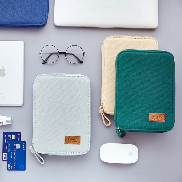 Creative Large Capacity Multifunction Pencil Case Basic Color Portable Canvas Zipper Stationery Pens Pad Storage Bag Box School