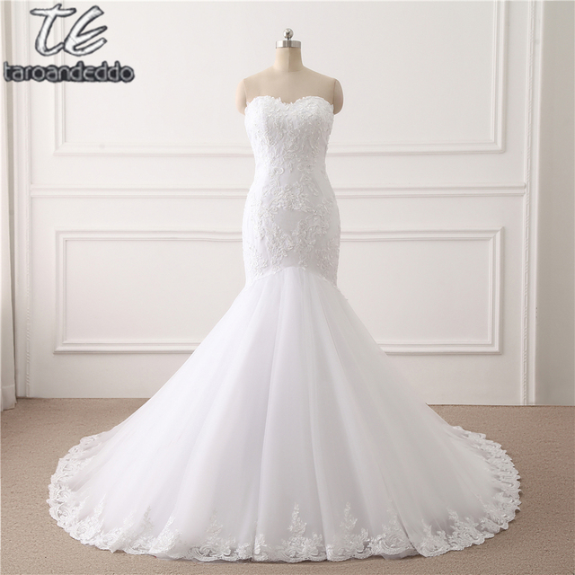 Sweetheart Sheer Bodice Applique Lace Mermaid Wedding Dress High ...