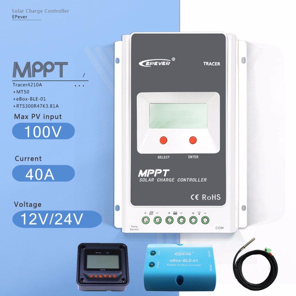 MPPT 40A Tracer 4210AN Solar Charge Controller 12V/24V Auto PV Regulator with MT50 Meter Ebox BLE Module and Temperature Sensor two color choices mt50 solar regulator 20a mppt tracer2210a with ble and sensor for 12v 24v auto work