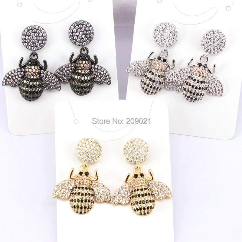 4Pairs Fashion Micro pave CZ Wholesale dangle earrings High quality insect earrings jewelry gift for women