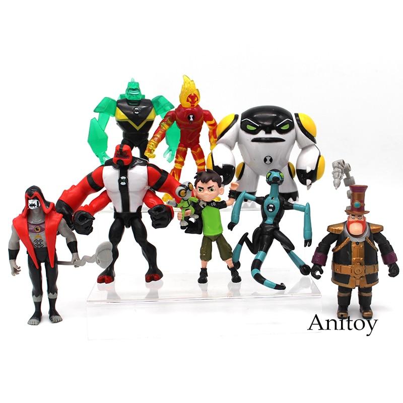Ben 10 Ben Tennyson Four Arms Grey Matter Kineceleran Diamondhead Heatblast PVC Action Figures Kids Toys Gifts 9pcs/set