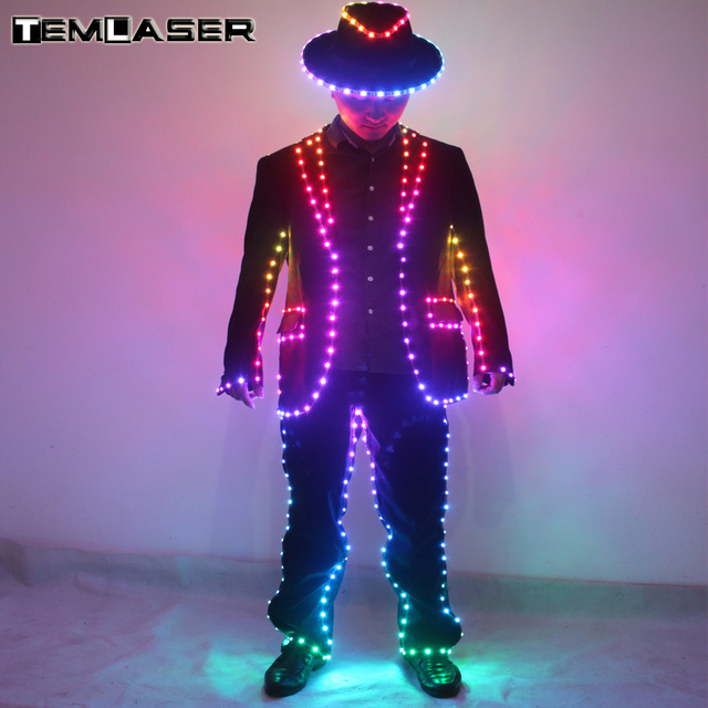 Colorful LED Suit For Dance Performace LED Stage Clothes Luminous Glowing Suits RGB Remote control  LED Costume