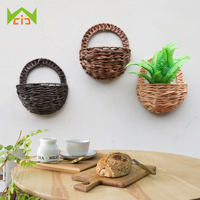 US $14.94 27% OFF|WCIC Wicker Basket Flower Pot Artificial Flower  Decoration Prop Wall Bamboo Simulation Plant Pot Wall Hanging Plant  Basket-in Flower ...