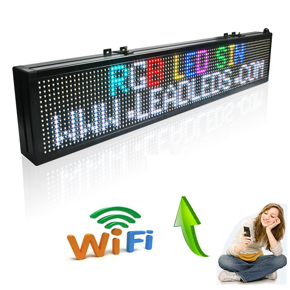 30 X 6-in 16*96pixel Wireless Wifi RGB Full Color P7.62 Indoor LED Message Sign Moving Scrolling Display Board For Shop& Window