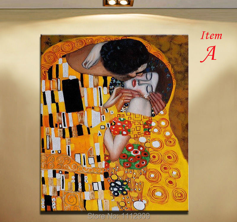 Gold Colour 100 Hand Made Famous Oil Paintings Reproduction Of Klimt Modern Abstract PEOPLE Wall Art For Home Decor The Kiss In Painting Calligraphy From
