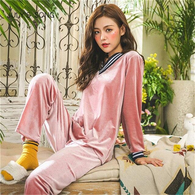 JULY'S BÀI HÁT Mùa Đông Ấm Áp Bộ Đồ Ngủ Bộ Nữ Ngủ Khoét Sâu Vàng Nhung Bộ Đồ Ngủ Đồ Ngủ Dài Tay Homewear 2 Peice Váy Ngủ