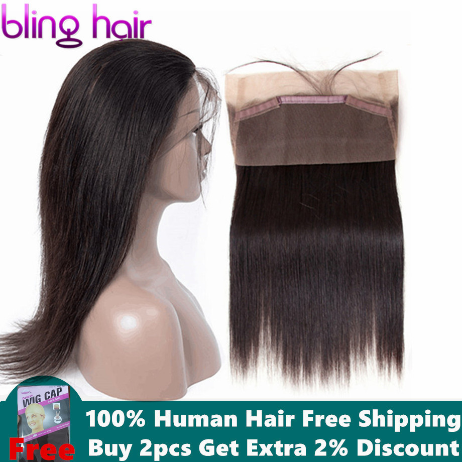 bling hair Brazilian Straight Hair Closure With Baby Hair Remy Human Hair