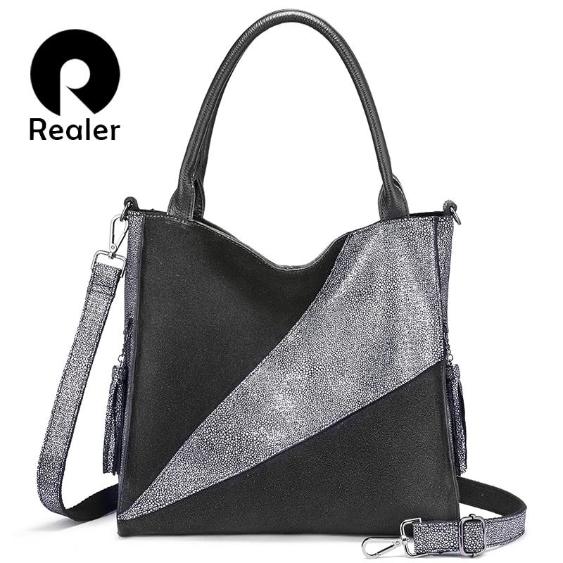 REALER genuine leather shoulder bag luxury handbags women bags designer Hobo bag fashion ladies bags high