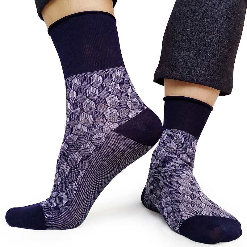 Navy Mens Socks for Business Formal Dress High quality Male Fetish Collection Sexy Exotic Plaid Breathable Long socks