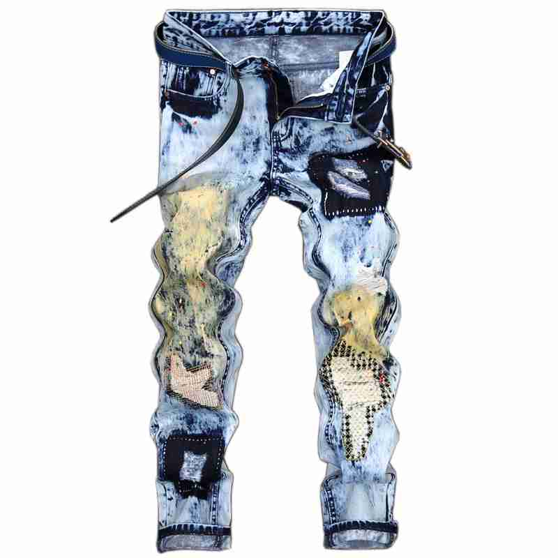 #1541 2017 Ripped Jeans men light blue Mens printed jeans Fashion Vintage Patchwork Hip hop jeans Motorcycle Mens biker jeans