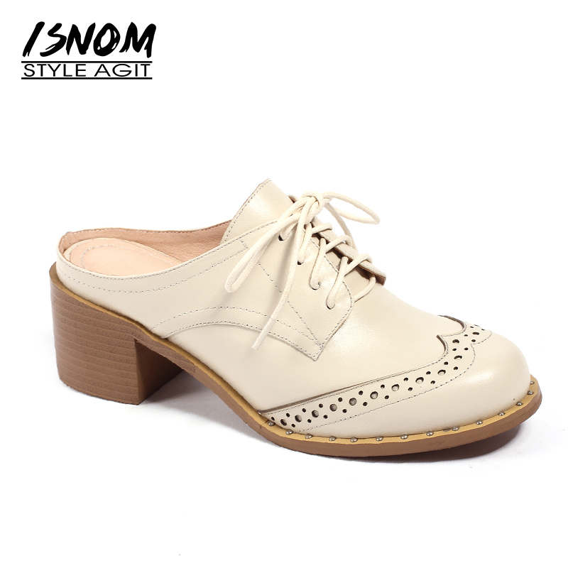 ISNOM 2019 Summer Genuine Leather High Heeled Women Pumps Round Toe Lace Up Footwear Spring Fashion