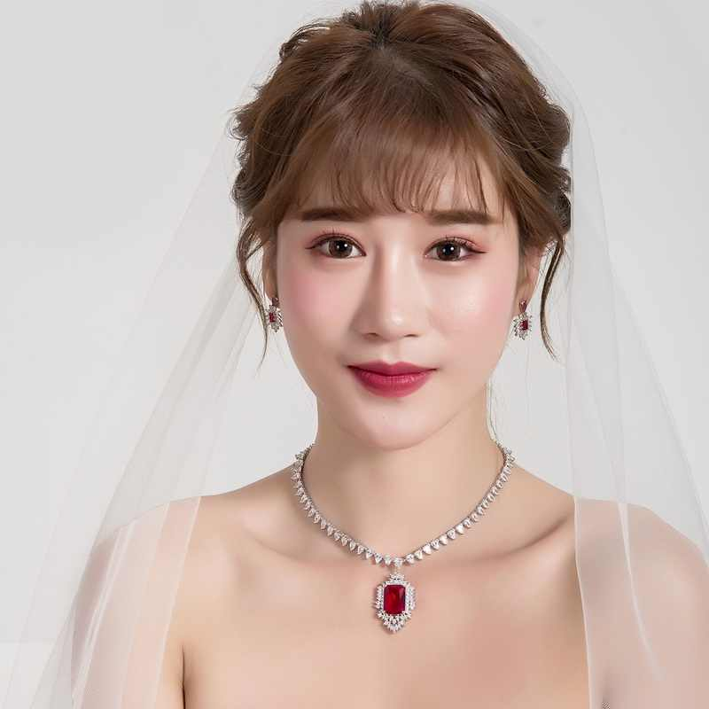 WEIMANJINGDIAN Red / Blue Cubic Zirconia CZ Crystal Wedding Bridal Necklace and Earring Jewelry Set in Rhodium Silver Color