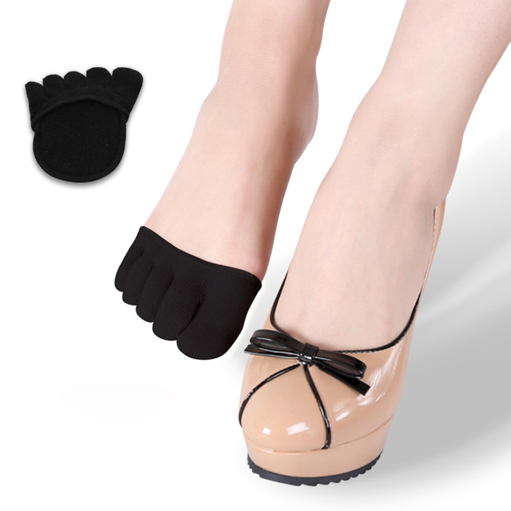 1 Pair Cotton Half Insoles Pads Cushion Metatarsal Sore Forefoot Support Toe Socks For Heels Women Anti Slip Foot Care Tool