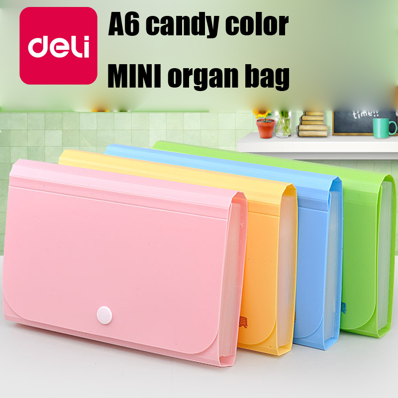 Deli 4PCS 13-layer File Folder Mini Organ Bag A6 Document Organizer Box Paper Holder Storage Finishing Office Supplies