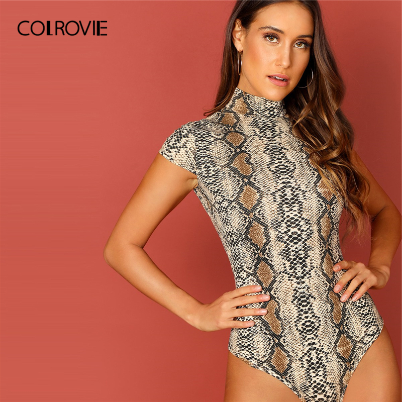 COLROVIE Animal Snake Print High Neck Sexy Shirt Bodysuit Women 2019 Fashion Cap Sleeve Streetwear Club Party Ladies Bodysuits
