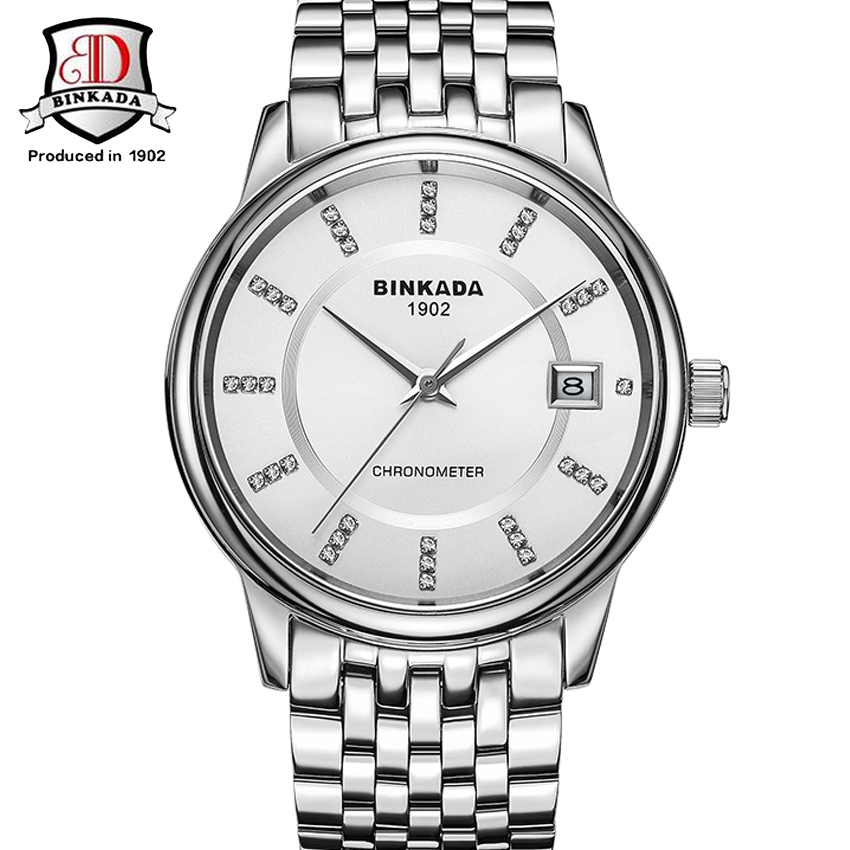 BINKADA Brand Fashion Casual Business Full Stainless Steel Watch Men Crystal Dial Mechanical Watches Mens Diving Clock relojes relojes full stainless steel men s sprot watch black and white face vx42 movement