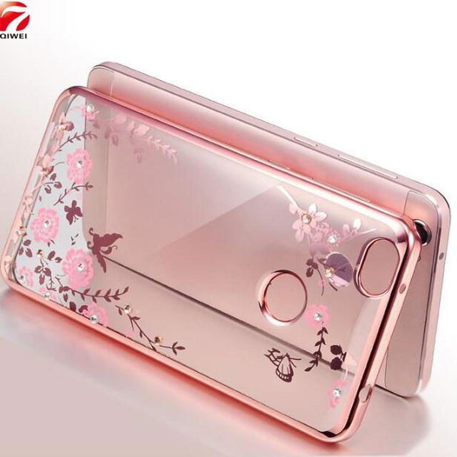 Для Coque Xiaomi Redmi 4X силиконовый чехол диаманта Bling Ясно обложка мягкая TPU цветок флора Телефонные чехлы для Xiaomi Redmi 4x5.0 чехол