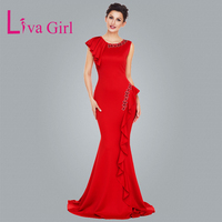 Liva Girl Red Asymmetric Ruffles Pleats Elegant Long Party Dress Sexy Formal Empire Party Gowns Maxi