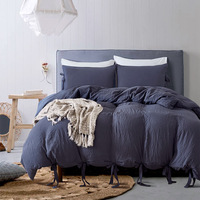 Bedding Set Soft Bedclothes Lace up Solid Brief Duvet Cover Set with Pillowcases 3pcs Bed Set Home