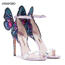 Wedding Shoes Women Embroidered Butterfly Angel Wings Sandals Open Toe Ankle Strap High Heels Gladiator Stilettos Party shoes