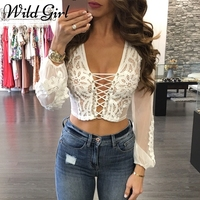 Glamaker Sexy Hollow Out White Lace Blouse Shirt Women Tops Transparent Mesh Summer Blouse Blusas Lantern