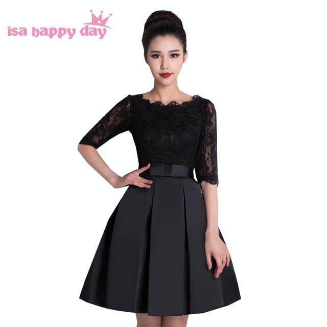 Online Shop New Arrive Short Black Lace Elegant Modest Semi Formal
