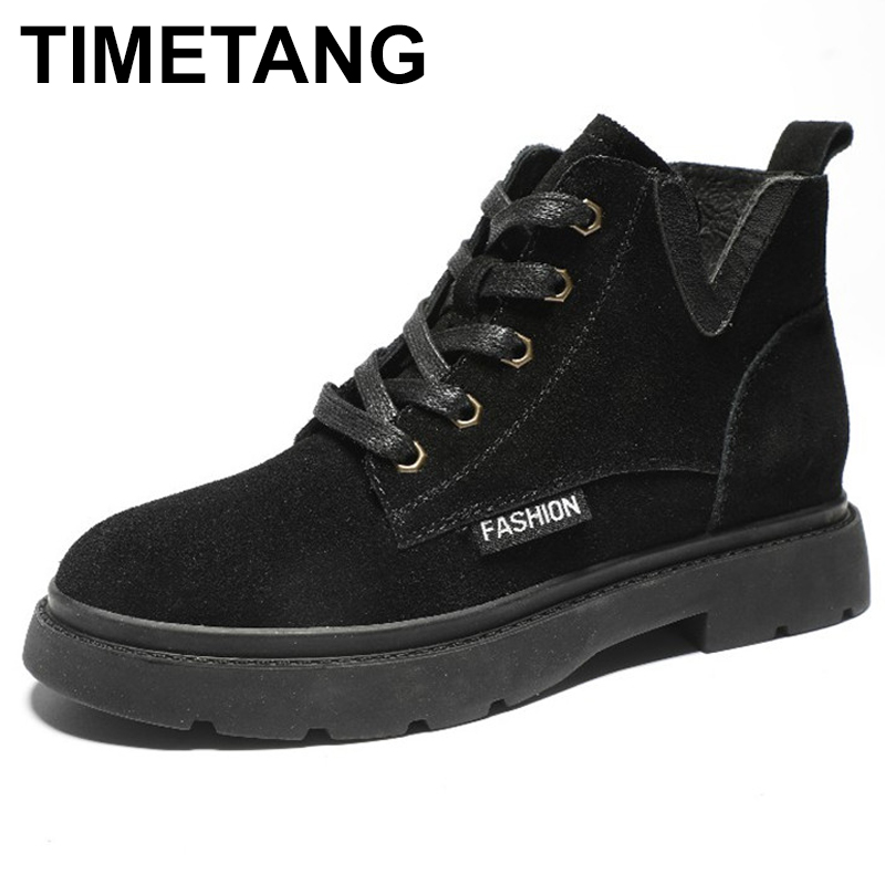 TIMETANG New British style fashion retro Mar boots spring autumn leather matte short tube womens boots sell well flat casualTIMETANG New British style fashion retro Mar boots spring autumn leather matte short tube womens boots sell well flat casual