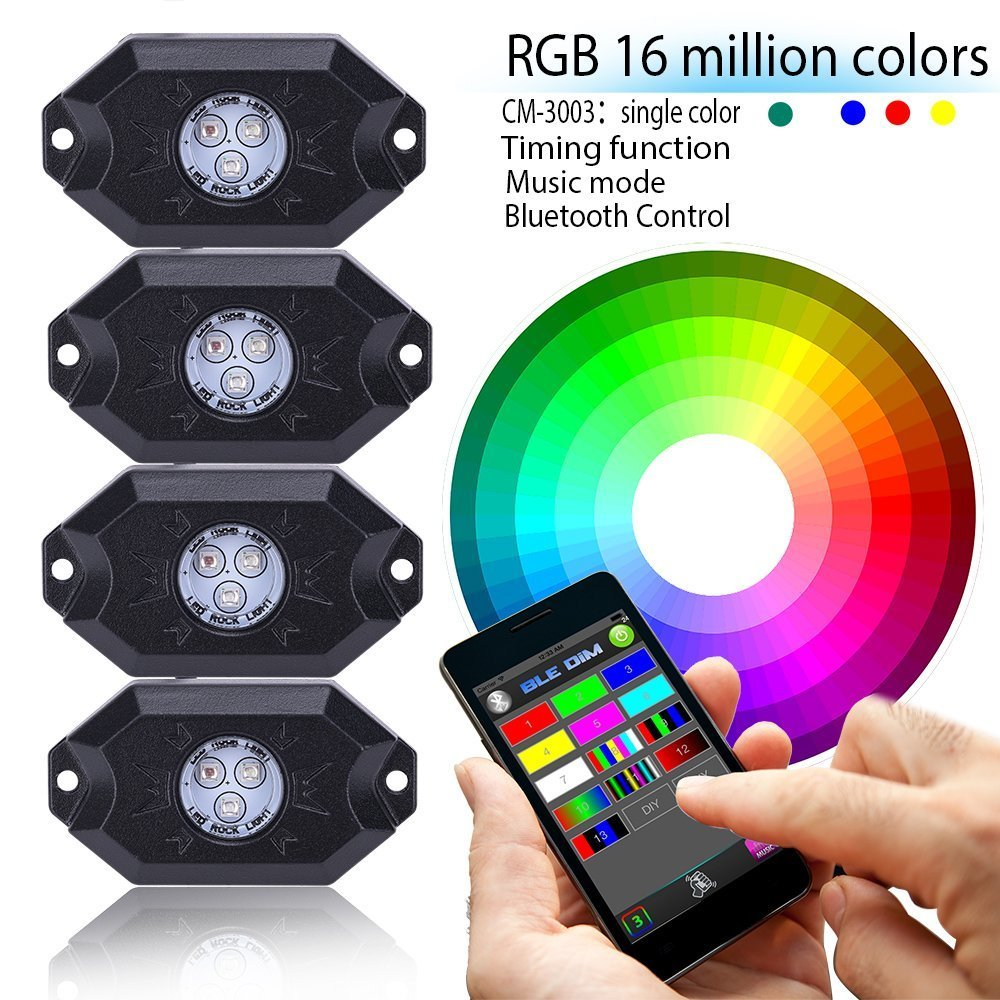 LED Rock Light with 4 pods lights Bluetooth RGB Controller Under Vehicle Cars Interior and Exterior - Waterproof Shockproof