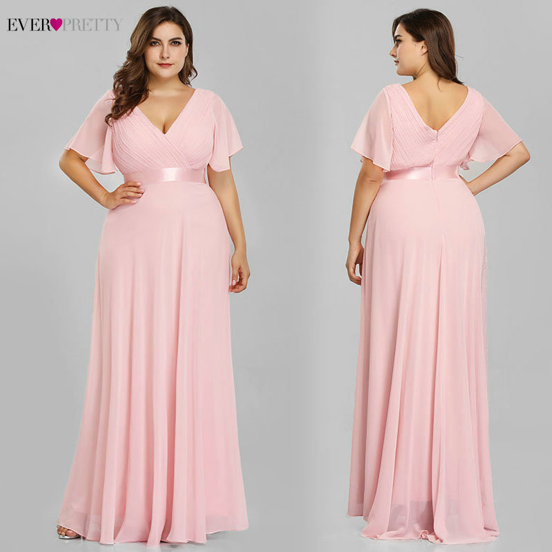Plus Size Evening Dresses Ever Pretty EP09890 Elegant V-Neck Ruffles Chiffon Formal Evening Gown Party Dress Robe De Soiree 2019