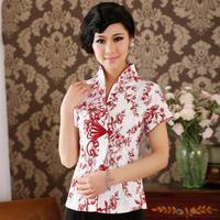 Cotton Linen Slim Improved Short Sleeve Blouse Women National Style Print Flower Shirt Plus Size M 3XL Lady 2018 Summer New Top