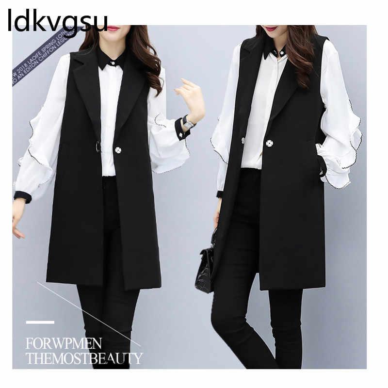 2019 большой размер 2 шт Женский комплект весна осень новая OL белая блузка + длинный черный Блейзер жилет Модные женские костюмы f038