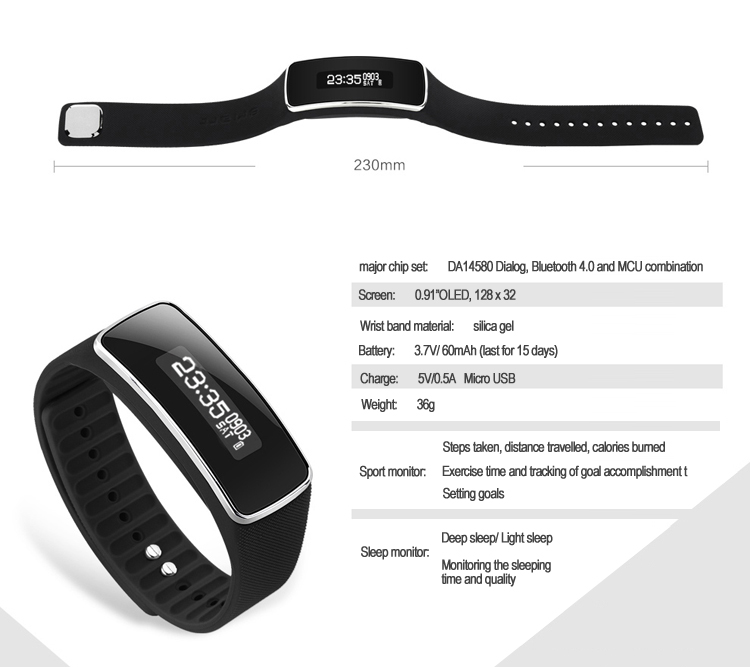Anti lost V5S Smart Bluetooth Fitness Smart Bracelet Band with OLED Display Pedometer Step Calories Counter