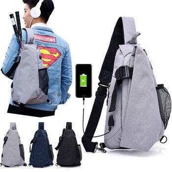 42cae6de1fac Мужская нагрудная сумка через плечо, треугольный рюкзак с usb-портом для  зарядки и портом для наушников, походная сумка, рюкзак