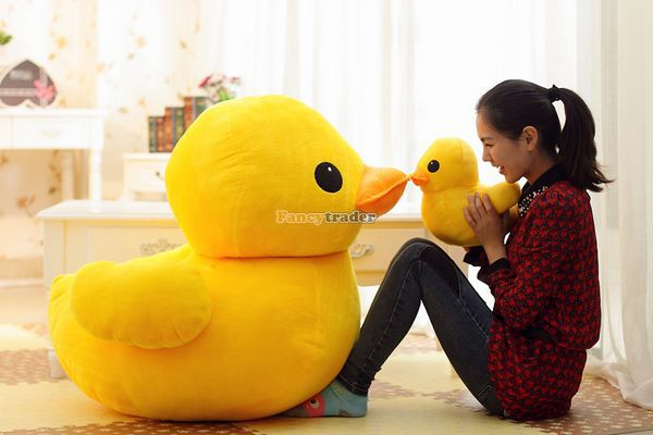 Fancytrader 39'' / 100cm Giant Plush Lovely Rubber Duck, Cute birthday Present Gift and decoration Free Shipping FT50007 fancytrader 39 100cm giant plush soft lovely stuffed cartoon monkey toy cute birthday gift free shipping ft50006