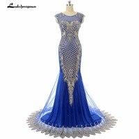Royal Blue Mermaid Abendkleid Lange Robe De Soiree Stickerei Sheer Abschlussball-kleid-formale Importierte Party Kleid Frauen Kleider