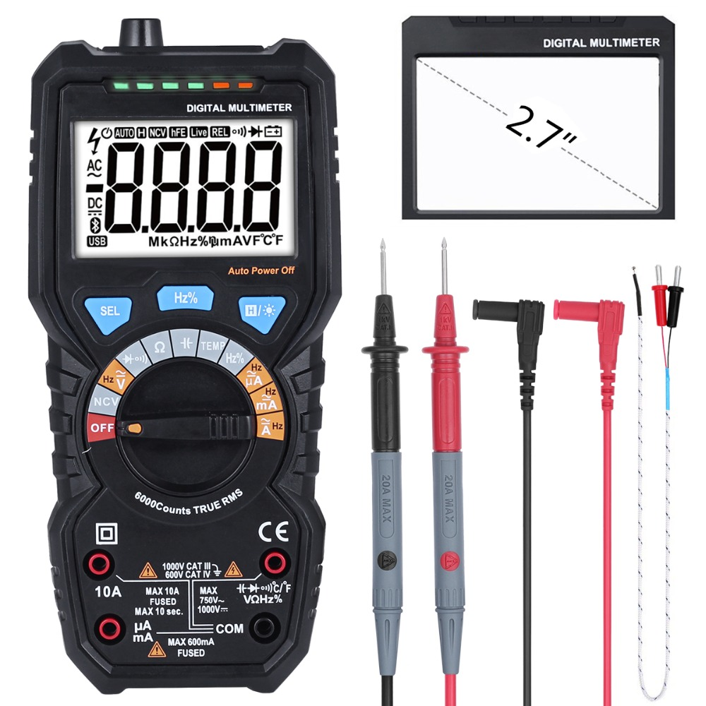BSIDE ADM08Pro True RMS Digital Multimeter AC/DC Voltage Current Temperature Frequency Resistance Capacitance NCV Multi Tester digital multimeter non contact voltage detector ncv resistance capacitance frequency multi tester comprobadores multimeter ms88