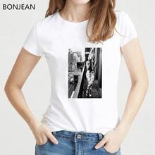 Retro classic t shirt women vintage Black and White Marilyn Monroe Printed tshirt femme sexy korean style streetwear