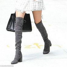 เพียงรักแท้ผู้หญิงหนังยืดบางต้นขารองเท้าสูงแฟชั่นเซ็กซี่กว่าเข่าบู๊ทส์รองเท้าส้นสูงรองเท้าผู้หญิง