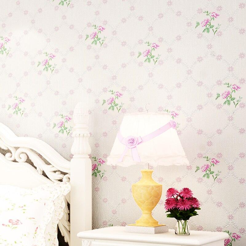цена на Pastoral Style Flower Wallpaper For Bedroom Living Room Sweet Wall Paper Roll