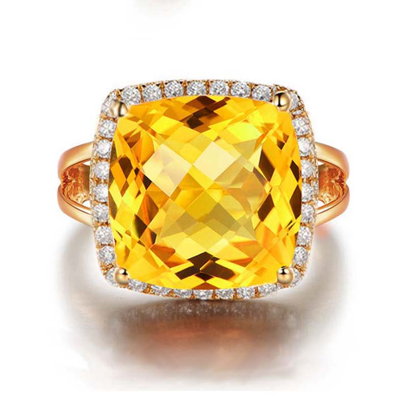 Natural Citrine Ring 925 Sterling silver Woman Large Fine Elegant Jewelry Girl Yellow Crystal Birthstone Luxury Gift все цены