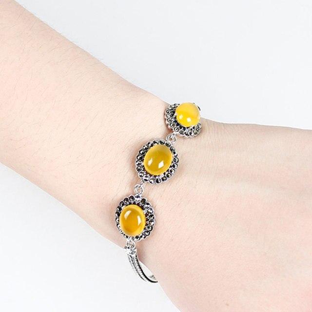 667eb220ac14 Piedras naturales calcedonia plata mística verde flores amarillas pulsera  para mujeres joyas plata 925 bijoux