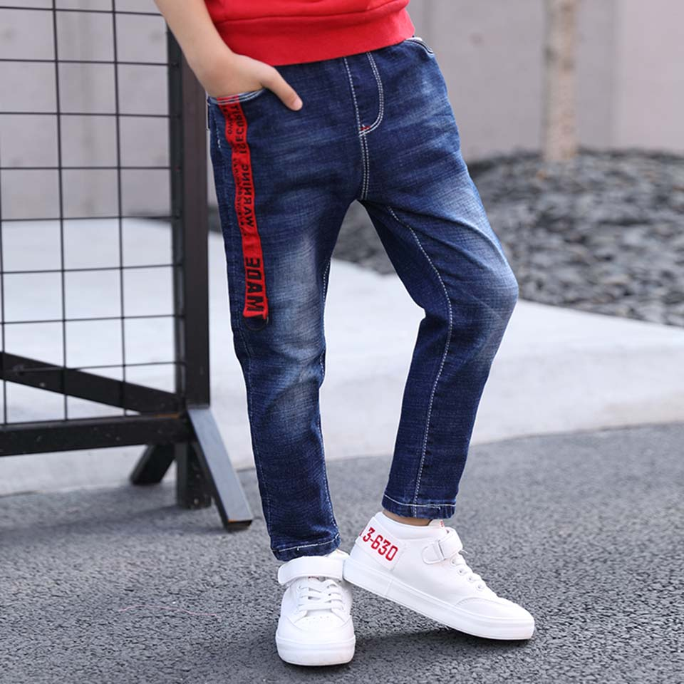 New 2018 Warm Kids Spring Autumn Cotton Jeans Baby Boys Casual Mid Denim Pants Toddler Children Boys Clothes Quality Trousers стоимость
