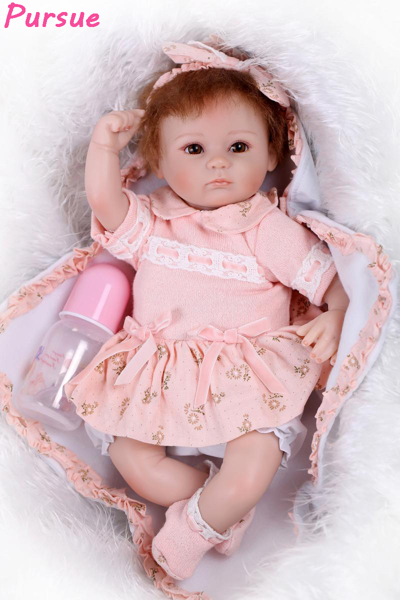 Pursue 17/43cm Brown Eyes Reborn Babies Doll Toys for Girls Princess Educational Toys Silicone Baby Doll bjd bebe reborn menina pursue blue eyes princess reborn 55cm silicone baby dolls adora doll for girls kids bebe reborn menina de silicone reborn babies