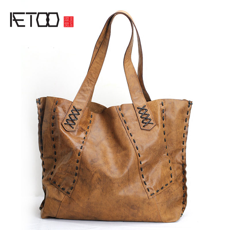 AETOO European goods art casual leather handbags Europe and the United States soft leather bag 2017 new shoulder bag female leat aetoo europe and the united states casual leather handbags soft leather cowhide pure mori department of hong kong retro wide sho