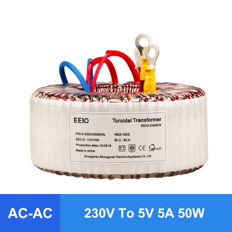 Comopez AC 230V To AC 5V 5A 50W Ring Transformer Pure Copper Toroidal Power Transformer Without Noise Anti-interferenceComopez AC 230V To AC 5V 5A 50W Ring Transformer Pure Copper Toroidal Power Transformer Without Noise Anti-interference